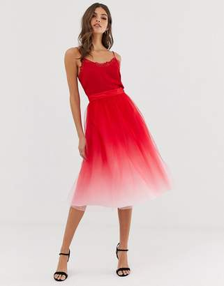 Chi Chi London midi tulle skirt in dip dye effect