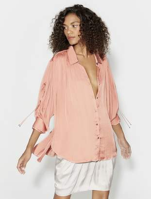 Halston LONG SLEEVE RUCHED BUTTON UP BLOUSE