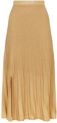 Sandro Metallic Pleated Midi Skirt