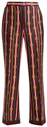 Gucci Web Striped Printed Silk Trousers - Womens - Blue Multi
