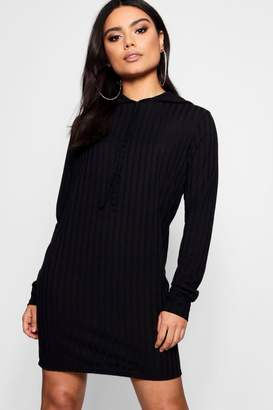 boohoo Freya Oversized Hooded Rib Knit Dress