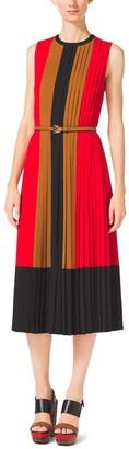 Michael Kors Color-Block Pleated Georgette Dress