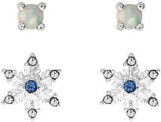 2e43ed911 Disney Frozen Children's Snowflake & Opal Stud Earrings Set