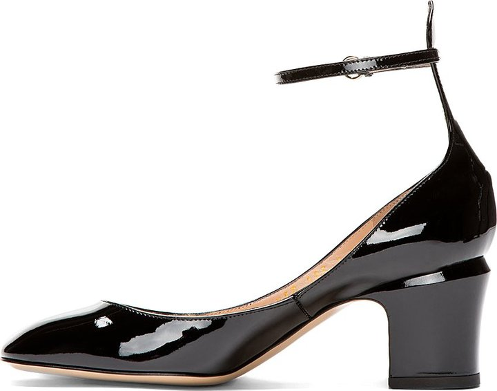 Valentino Black Patent Ankle Strap Mary Janes