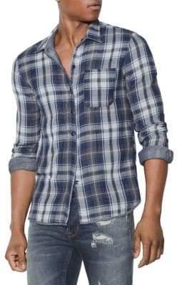 John Varvatos Double-Faced Reversible Plaid Shirt
