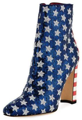 Manolo Blahnik Nancy Sequined Stars & Stripes Flag Bootie