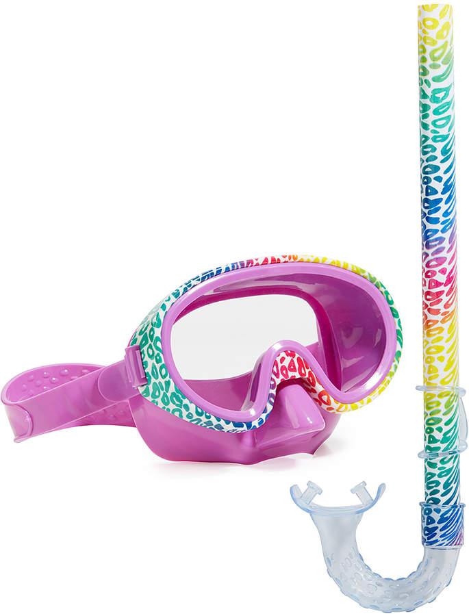 Pink Cheetah Snorkel Mask Set