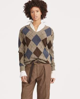 Ralph Lauren Argyle Wool V-Neck Sweater