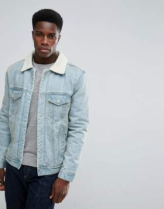 Stradivarius Denim Jacket With Borg Collar In Light Wash