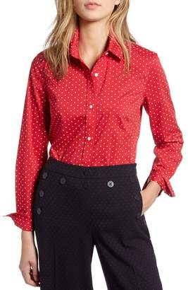 1901 Polka Dot Stretch Cotton Blend Shirt