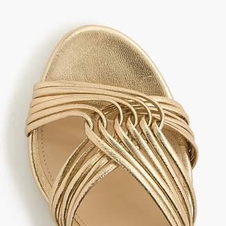 J.Crew Metallic gold strappy heels