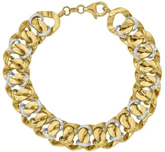 "Italian Gold 8"" Two-Tone Double Curb Link Bracelet 14K, 12.8g"