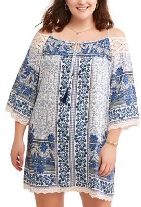 Romantic Gypsy Women's Plus Boho Print Cold Shoulder Dress with Crochet Trim