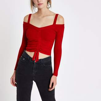 River Island Womens Red ruched front fitted bardot knit top
