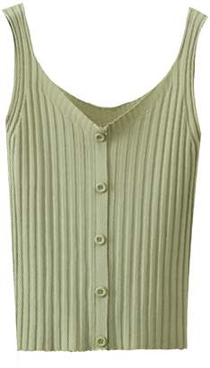 Goodnight Macaroon 'Jelena' Ribbed Knit Button Front Tank Top (6 Colors)