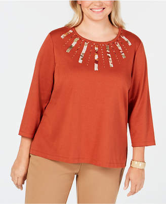 Alfred Dunner Plus Size Autumn in New York Embellished Applique Knit Top