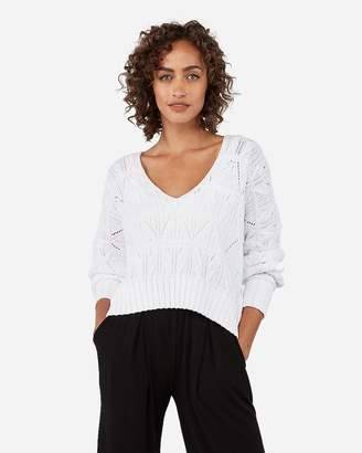 Express Open Stitch Split Back V-Neck Hi-Lo Sweater