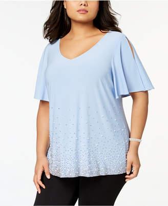 MSK Plus Size Embellished Cold-Shoulder Top