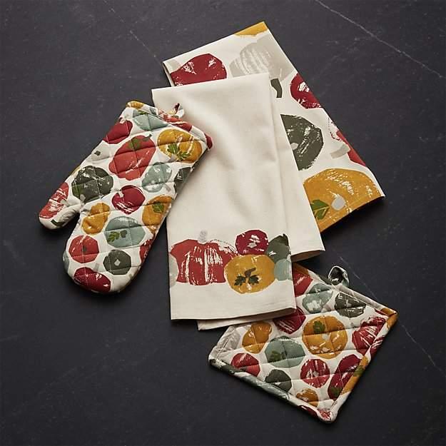 Brushed Pumpkin Kitchen Textile Set