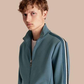 Burberry Stripe Detail Cotton Blend Jersey Track Top $495 thestylecure.com