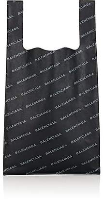 Balenciaga Men's Logo Small Leather Supermarket Tote Bag - Black