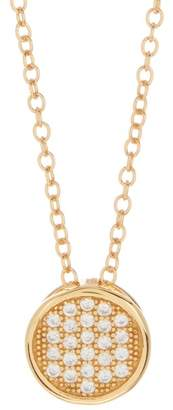 Argentovivo 18K Gold Plated Sterling Silver Pave CZ Circle Pendant Necklace