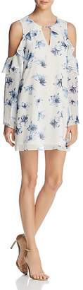 Aqua Floral Ruffle Cold-Shoulder Dress - 100% Exclusive