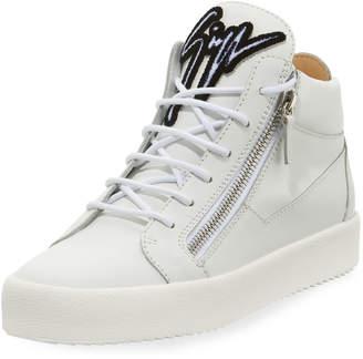 Giuseppe Zanotti Men's Mid-Top Sneaker with Varsity Felt Logo