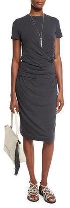 Brunello Cucinelli Crossover-Waist Short-Sleeve Jersey Dress, Gray $1,325 thestylecure.com