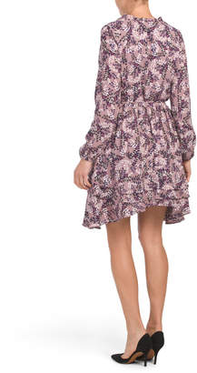 Juniors Ditsy Floral Ruffle Dress