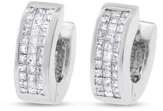 14k White Gold 1.00 CT Natural Diamond Princess Cut Invisible Set Huggie Earrings