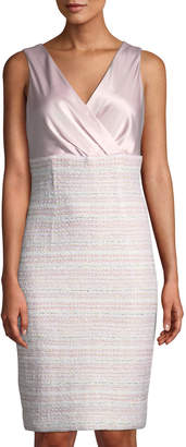 St. John Sleeveless Satin & Tweed Sheath Dress