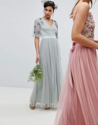 Maya embellished tulle sleeve maxi tulle dress in green