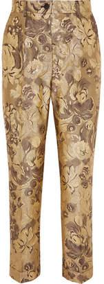 Dolce & Gabbana Metallic Brocade Straight-leg Pants - Gold