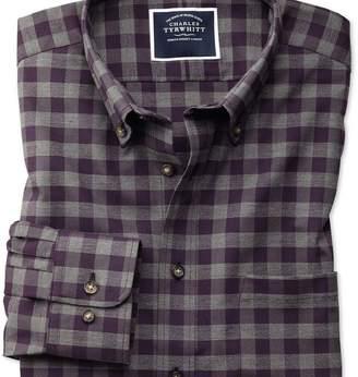 Charles Tyrwhitt Slim fit non-iron purple gingham twill shirt
