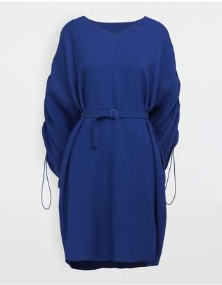 Maison Margiela Ruched-Sleeve Jersey Midi Dress