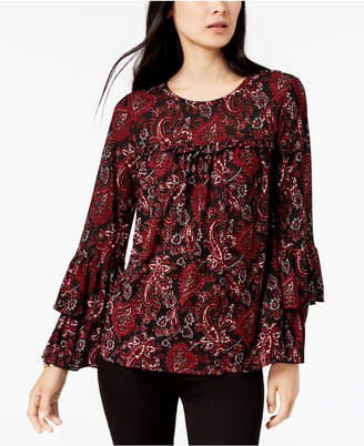 Michael Kors Paisley-Print Tiered-Sleeve Top, In Regular & Petite Sizes