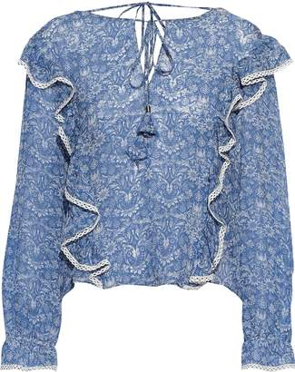 Love Sam Lace-paneled Ruffled Floral-print Silk-voile Blouse