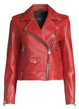 Mackage Women's Baya Leather Moto Jacket - Paprika - Size Medium