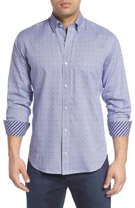 Men's Tailorbyrd 'Exelero' Regular Fit Dot Houndstooth Sport Shirt $110 thestylecure.com