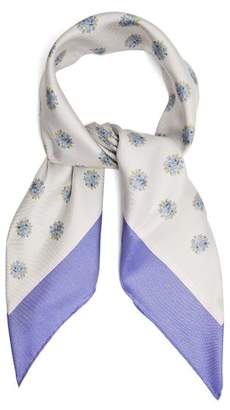 Valentino Floral Print Silk Blend Scarf - Womens - Blue