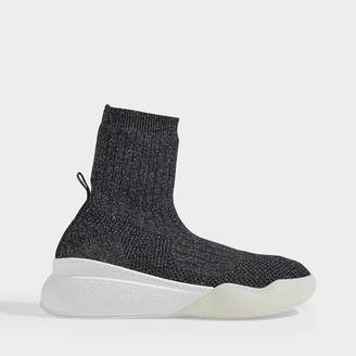 Stella McCartney Loop Sneakers In Black And Silver Synthetic Fabric