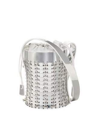 Paco Rabanne 1401 Chain-Link Mini Mirrored Leather Bucket Bag
