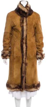 Andrew Marc Fur-Trimmed Shearling Coat