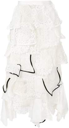 Sacai asymmetric lace skirt