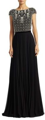 Theia Beaded Floor-Length Gown $995 thestylecure.com