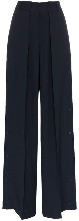Bertilla wide leg buttoned cuff trousers