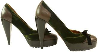 Lanvin Brown And Green Leather And Velvet Bow Platform Pumps - Sz38