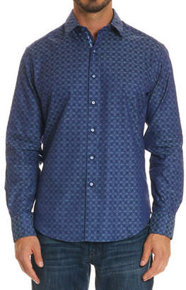 Robert Graham Wave-Print Long-Sleeve Cotton Sport Shirt