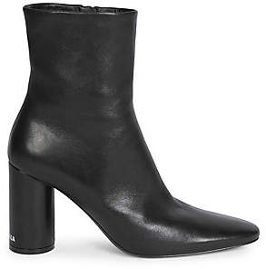 Balenciaga Women's Oval Block-Heel Leather Ankle Boots